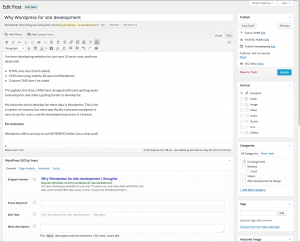Wordpress create new post screen